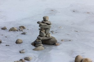Rock Statue on the Bow River.
